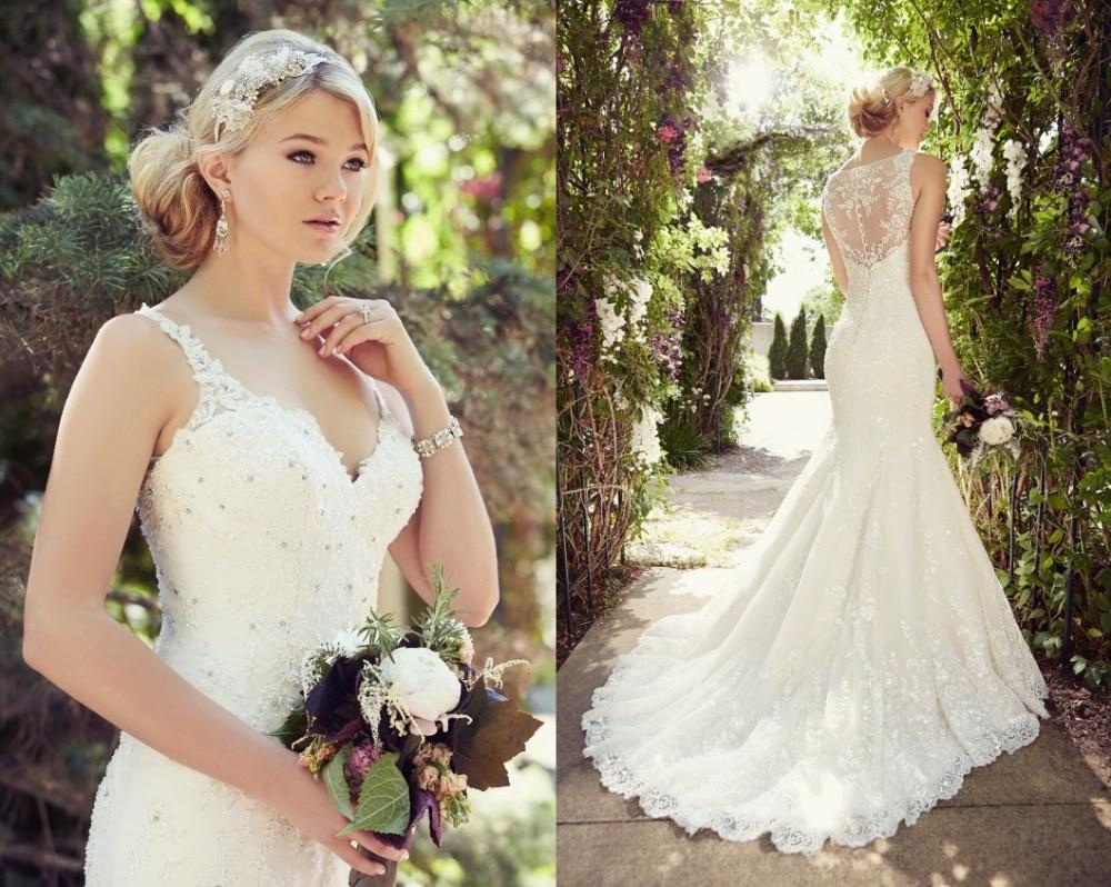 Hot Sale Mermaid Wedding Dress Spaghetti Strap V Neck