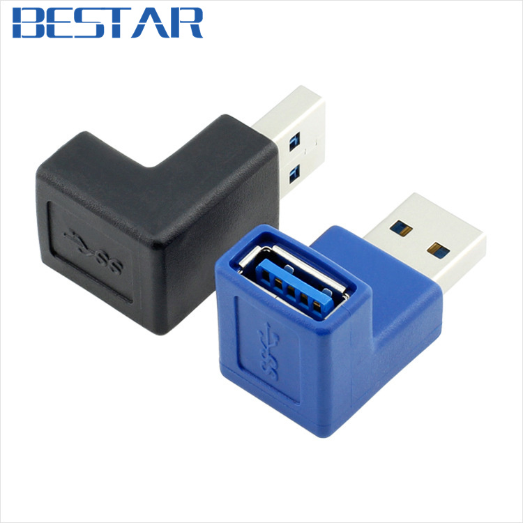 (2 pieces/lot) 90 Degree Right Angle USB 3.0 Type A Male to Female Plug Connector Adapter Converter Connector Adaptor
