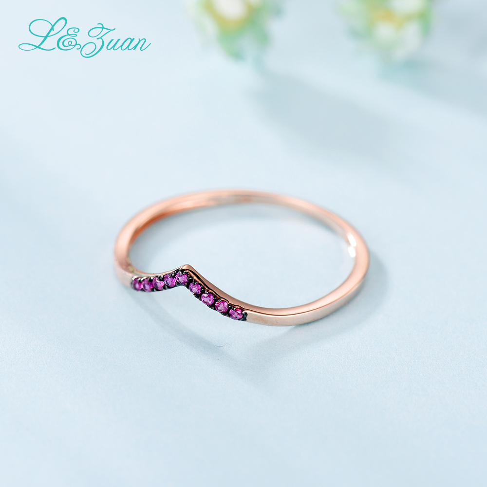 L&Zuan Ruby Jewelry Rings For Women Natural Red Stone 14K Rose Gold - Fine Jewelry - Photo 6