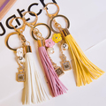 FREE SHIPPING! New Arrival Elegant  Fashion Trendy PU leather Tassel Keychain Key Chain Ring For Women Bag Charms Accessories