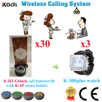 Free Shipping Customer Call Bell System For Restaurant Pager With Good Price 433.92MHZ (3 watch+30 button+30 menu holder)|pager system|restaurant system|pager call -