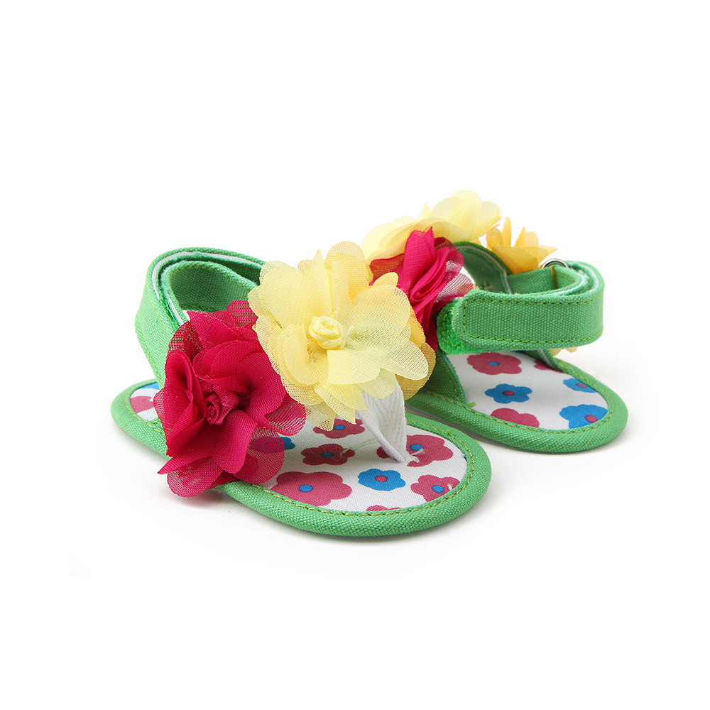 Delebao 2018 Newdsign Baby Sandals Yellow Flower Cotton Soft Sole Summer Sandals For 0 18 Months Baby Shoes in Sandals Clogs from Mother Kids