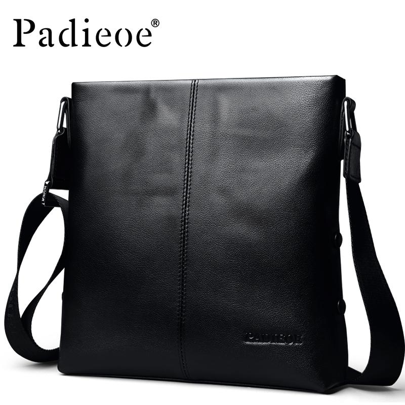 Prix pour Padieoe véritable vache en cuir hommes de sac d'affaires hommes en cuir messenger sacs en cuir de haute qualité hommes épaule bandoulière sacs