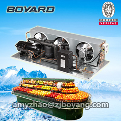 horizontal type condensing unit indoors air cooled for commercial refrigeration in supermarket showcase 1hp 60hz horizontal refrigeration compressors for upright beverage display cooler