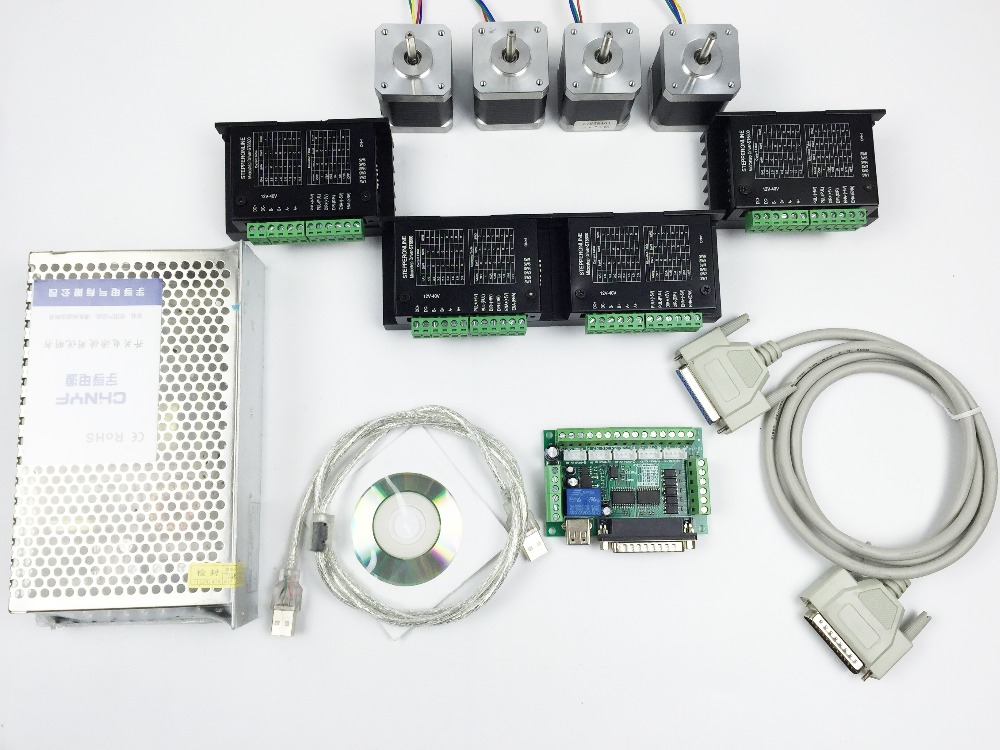 CNC Router Kit 4 Axis, 4pcs TB6600 4.2A stepper motor driver +4pcs Nema17 0.44NM motor+ 5 axis interface board+ power supply dc60v 350w 5 9a switching power supply 115v 230v to stepper motor diy cnc router