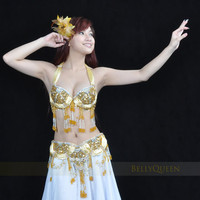 бесплатная доставка ] сексуальное новые производительность # 851 танец живота костюм 2 шт. бюстгальтер + ремень, цвет золотой доступны, один размер