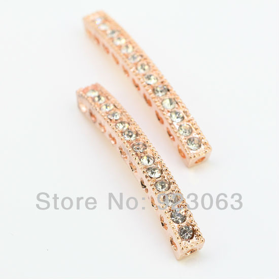 Wholesale 50pcsLot Clear Crystal Curved Sideways Bar Connectors