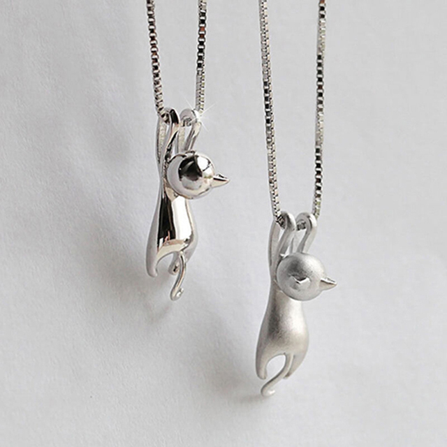 Women Cute Shiny Side/Dull Polish Hanging Cat Pendant Choker Necklace Jewelry
