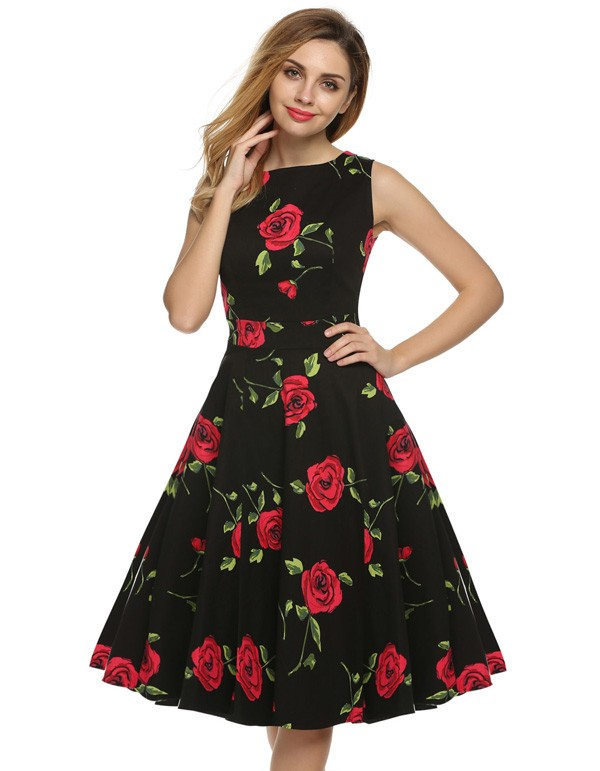 ACEVOG Women Dress Retro Vintage 1950s 60s Rockabilly Floral Swing Summer Dresses Elegant Bow-knot Tunic Vestidos Robe Oversize 12