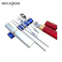 Gohide Metal Stainless Steel Eco-Friendly Tableware 3pcs/Set Spoon Fork Chopsticks Kit Portable Tableware Multi Color Optional