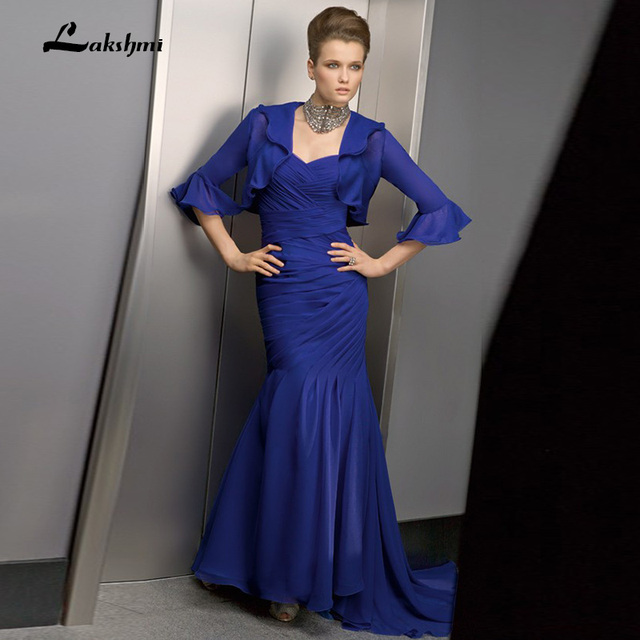Chiffon Spahetti Straps azul royal mãe dos vestidos de noiva Jacket Plissada Corpete Tornozelo Comprimento Evening Partido Vestido Custom Made