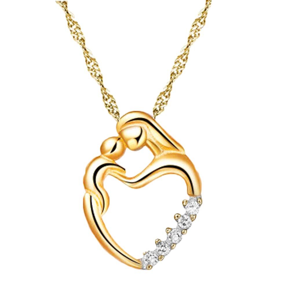 love you forever Sterling Love Heart Necklace Mother Hold Baby Family Necklaces Jewelry Gifts