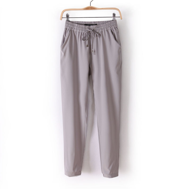 Chiffon Elastic Waist Solid Color Office Pants 15