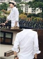 новый стиль мода хлопок двойной воротник мужская рубашка