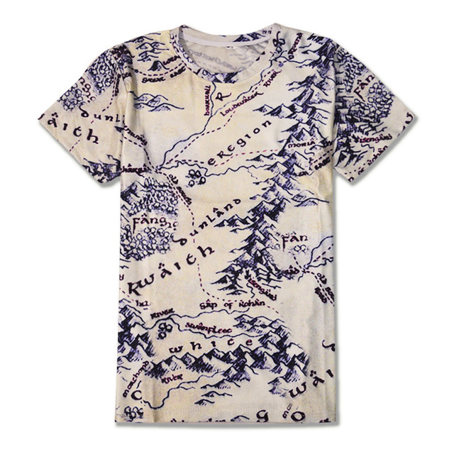 Lord of The Rings Map Printed T-shirt