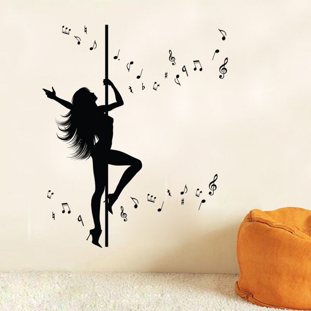 Sexy Girl Pole Dancing Wall Art Mural Decor Sticker Creative Music Note Wall  Decal Sticker Unique