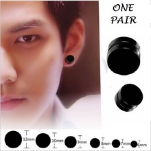 NEW one pair 6/8/9/10/12mm Mens Magnetic Earrings Titanium Steel Black Trendy Round Magnetic Clip Black Fake Earrings For Men