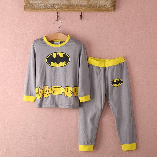Пижама с Бэтменом для маленьких мальчиков и девочек детская пижама с  длинными рукавами одежда для сна e4328c44f7717