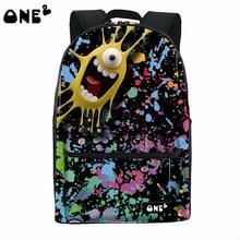 2016 ONE2 Дизайн большой глаз монстр pattern нейлон пользовательские школьная сумка рюкзак мило имя бренды рюкзак для девочек