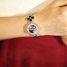 Kimio Brand Love Heart Crystal Strap Clover Bracelet Watch Inlay Rhinestone Waterproof Quartz Dress Watches Fashion Clock Reloj