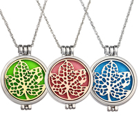 Women Round Hollow Maple Glow in The Dark Aromatherapy Locket Pendant Necklace
