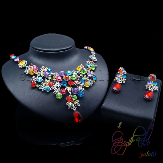 New design 2016 European style jewelry Colorful crystal women jewelry set 2016 european