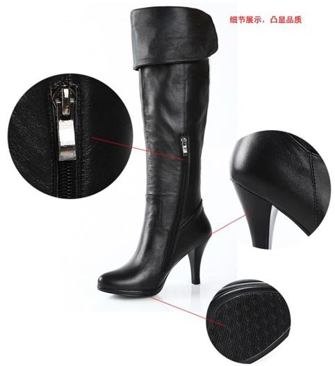 4ca95250167 ... Women s Genuine Leather Platform Over Knee Thigh High Heel Boots Size  US 5-9.5( ...