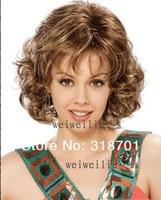 мода короткие вьющиеся смешать цвет женщины'ssynthetic волос парики бесплатная доставка