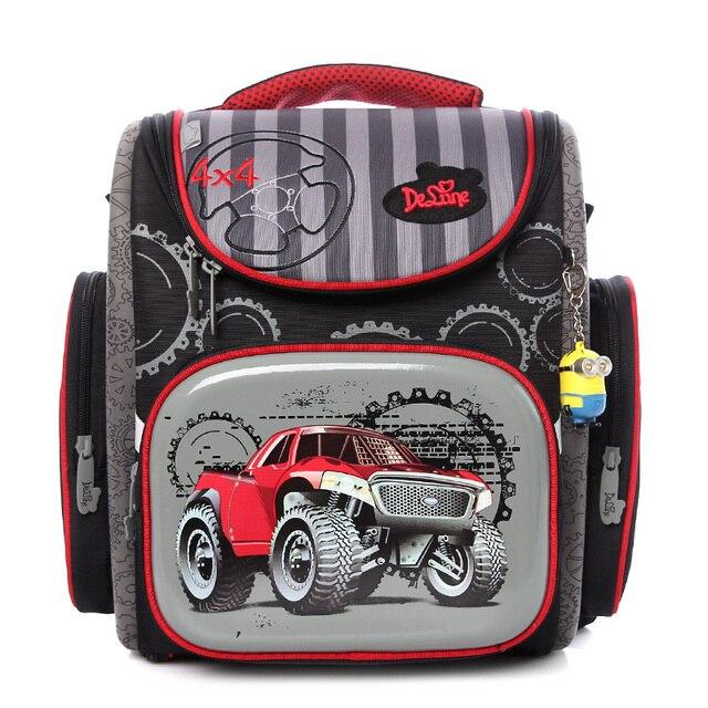 Delune Big Large Capacity 3D Racing Cars Backpack  Motorcycle Printing School  Bags Children Bag Orthopedic Backpacks For kids
