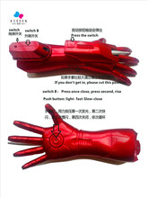 Kissen 1pair Iron Man Hidden Blade Cosplay Gloves with Weapons LED Light PVC Action Figures Collectible Model Toys