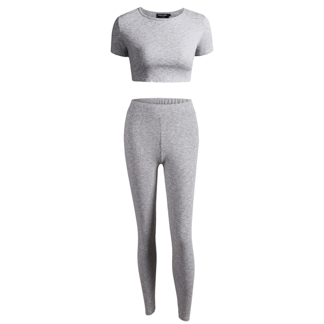 New 2017 Sping Summer Style Women's Set Tops and Legging 2 Piece Gray Solid Color Short Sleeve Tracksuits