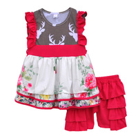 Cheap Price Kids Lovely Clothing Floral Swing Top Red Ruffles Shorts Boutique Remake Baby Girls Spring