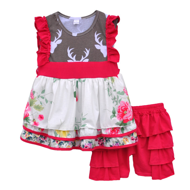 Cheap Price Kids Lovely Clothing Floral Swing Top Red Ruffles Shorts Boutique Remake Baby Girls Spring Summer Clothes S066