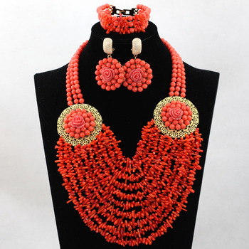 Fashion Wedding Coral Beads Jewelry Set African Nigerian Bridal Coral Bib Jewelry Set for Women Party Free Shipping CNR536