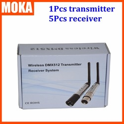 6pcs/lot  3 pin 2.4G Wireless Transmitter& Wireless Receiver 512 channels controller dmx 512 wireless console receiver