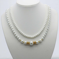 Classic Popular Natural White Shell Pearl Necklace 2Rows Neck Chain Accessories For Women Girls Ladies Gifts