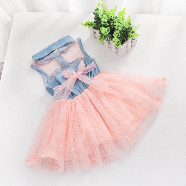 15253bb5a Denim  Tulle Baby Kids Girls Denim Dress Sleeveless Shirt Tulle ...