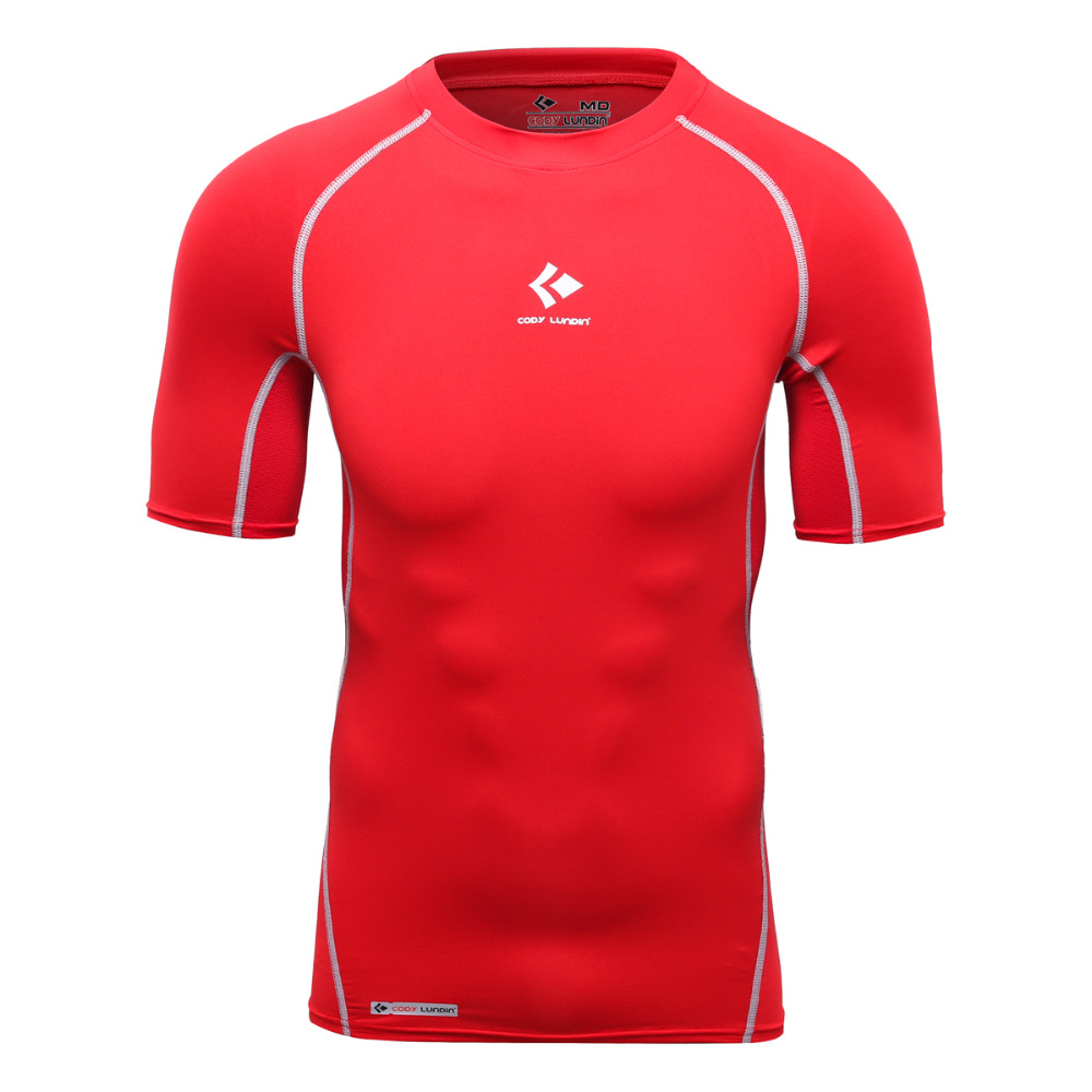 Cody Лундин четыре Вышивка Крестом Иглы шести линий технолог плотно футболку Для мужчин Бодибилдинг сжатия рубашка Для мужчин Crossfit вздох Фут...