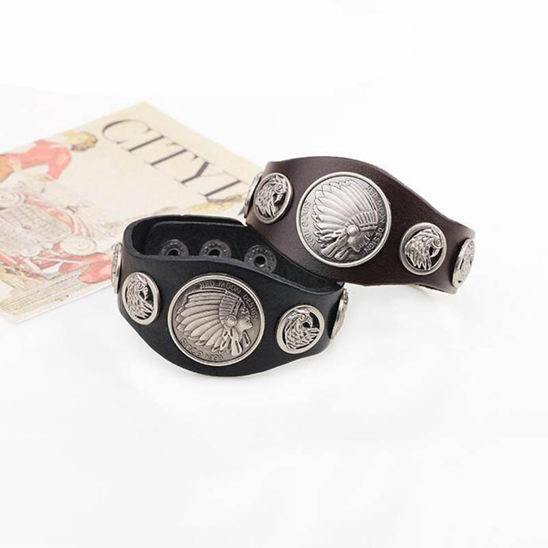 Vintage Tribal Motorcycle American Indian Head Bracelet Bangle Pulseras Women Style Eagle Jewelry from India SL028