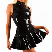 Leather PVC Women Club Dress Bodycon Party Dresses