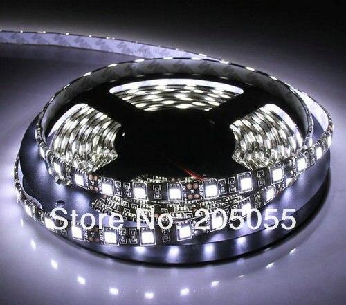 ПХБ черного цвета на каблуках высотой 5 м 5050 300 светодиодный SMD Водонепроницаемый IP65 DC12V Гибкая световая полоса 60 светодиодный s/M-холодный белый