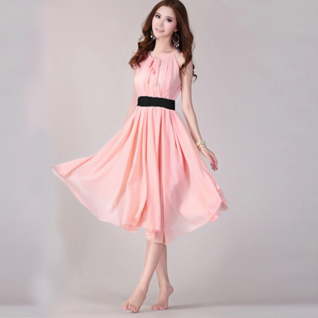 Summer Beach Maxi Long Chiffon Bohemian Woman Elegant dresses Vestidos Casual Halter Novelty Belt Dresses Womens sarafan #13-15