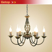 ZX American Rural Retro Iron Candle E14 LED Chandelier Unbreakable Sitting Dining Room Bedroom Study Lamp