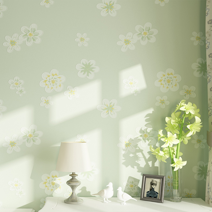 High Quality 3D solid pastoral flowers wallpaper roll for wedding room girl's bedroom TV/sofa background walls wall paper