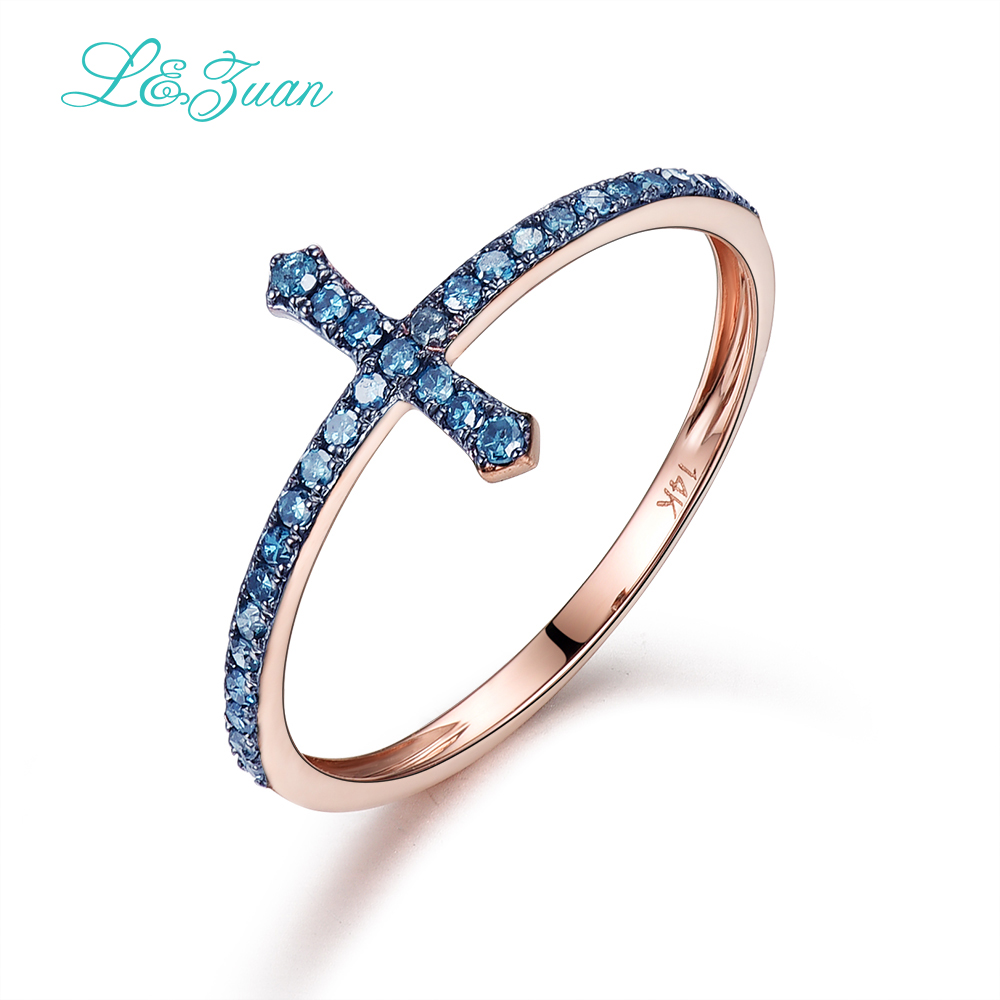 I & zuan 14K Rose Gold Natural Diamond Jewelry Sapphire Blue Cross Rings For Women Party Luxury Fine Jewelry Wedding Wedding Bands 0006