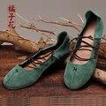Calzado de Ballet Zapatos de Mujer 2016 de Las Mujeres Zapatos de Los Planos de Cuero Genuino Hecha A Mano Correas Verde Zapatos de los Planos Para Las Mujeres de Gran tamaño