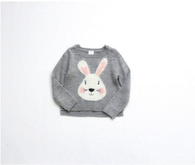 YR1620 2017 Весной Новорожденных Девочек Свитера Серый Кролик Аппликации Кролик Малышей Девушки Пуловеры Повседневная Девушка Модная одежда