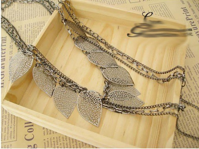 Silver Light Leaf Multi-Layer Long Necklace