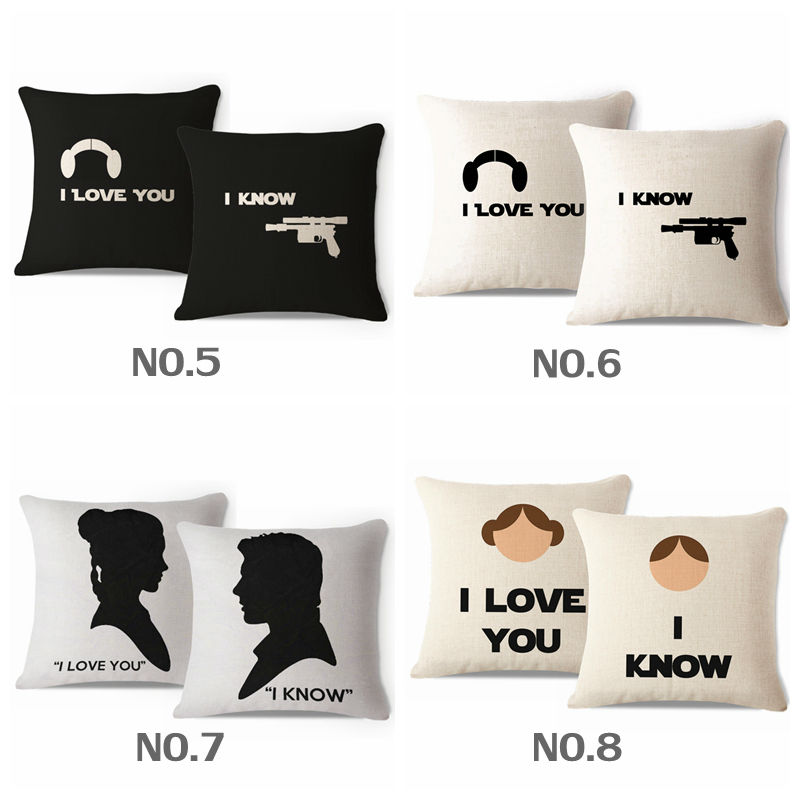 Set Of 2pcs Decorative Throw Pillow Case His And Her Star Wars Leia