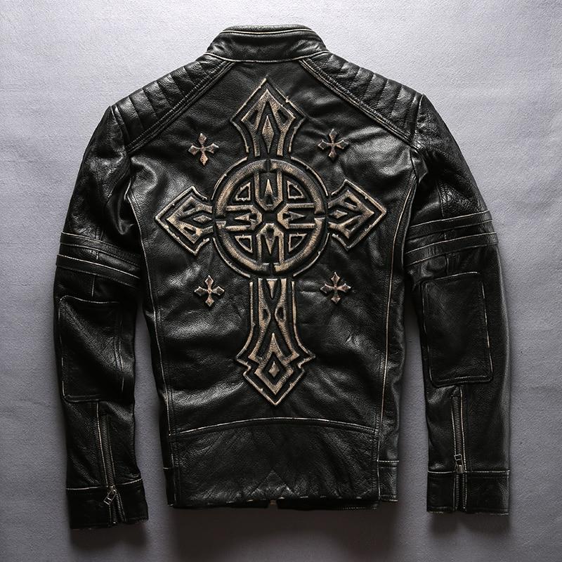 Read Description! Asian size men's cow leather mens clothing coat cowhide genuine leather vintage rider jacket